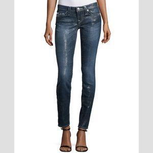 True Religion skinny herringbone print coated jean